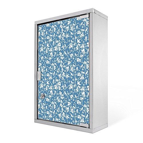 #Medizinschrank groß Edelstahl abschliessbar 30x45x12cm Arzneischrank Medikamentenschrank Hausapotheke Erste Hilfe Schrank Motiv Floral Hellblau#
