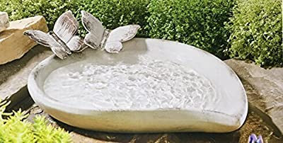 Bird Bath Ceramic, Varnished, in Natural Stone Look, weiß-vintage with Attachable Butterfly, 37,5 x 27 cm by KaMel