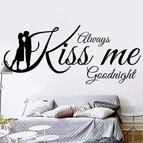 Sempre Kiss Me Goodnight Quote Wall Sticker per camera da letto Decor Lovers Coppie Adesivo Decorazione Poster 84 * 196cm