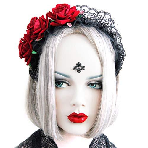 A0127 Dame Kopf Kranz Gothic schwarz Spitze Maid Haarband rote Rosen Tiara Halloween Party Maskerade Cosplay