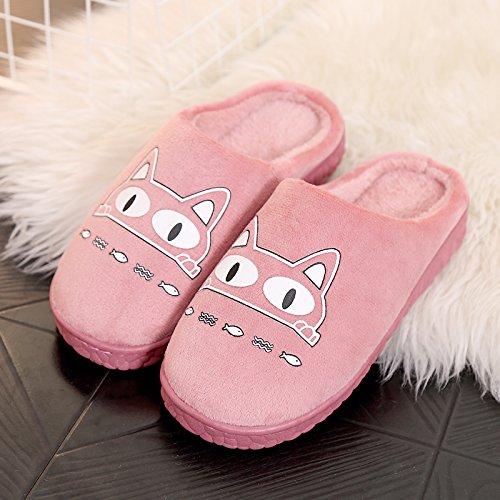 DogHaccd pantofole,Autunno Inverno paio di pantofole di cotone femmina calda interna antiscivolo pacchetto carino con un soggiorno di lana spesse pantofole maschio Rosso4