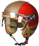 SOXON SP-325-URBAN Red · Vintage Mofa Scooter-Helm Vespa-Helm Biker Pilot Bobber Motorrad-Helm Chopper Cruiser Jet-Helm Roller-Helm Retro Helmet · ECE zertifiziert · Leder Design · mit Visier · inkl. Stofftragetasche · Rot · L (59-60cm)