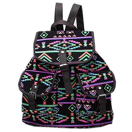 Minetom Damen Herren Vintage Modisch Casual Canvas Haltbare Segeltuch Taschen Reise Schultasche Rucksack Style04