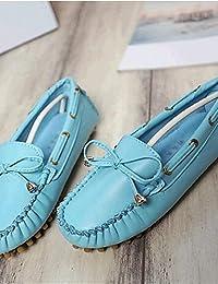ZQ YYZ Zapatos de mujer-Tac¨®n Plano-Comfort-Planos-Exterior / Casual-Semicuero-Negro / Azul / Rosa / Rojo / Blanco...