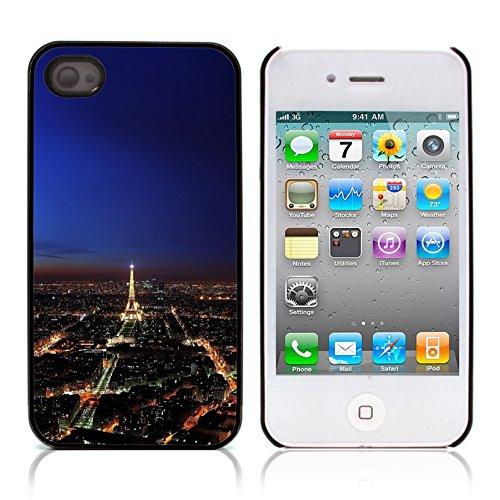 Graphic4You Paris At Night Skyline View Postkarte Ansichtskarte Design Harte Hülle Case Tasche Schutzhülle für Apple iPhone 4 und 4S Design #10