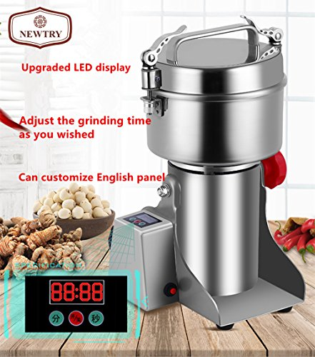 Newtry 800 g Edelstahl-LED-Display, elektrisch, haushaltsfein, Körner-Mühle, kommerzielle Getreidemühle, Pulverisator, Medizinische Materialien Pulvermaschine für zu Hause - 220 V -