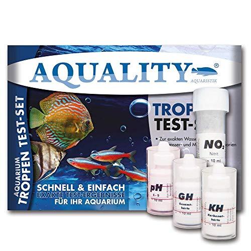 AQUALITY Wassertest-Set pH, GH, KH Test (Aquarium Tropfen- und Wassertest - Schnell und einfach pH-Wert, Karbonathärte, Gesamthärte und Nitrit im Aquarium messen. Jetzt im Spar-Set), Teste:4er Wassertest Sparset -