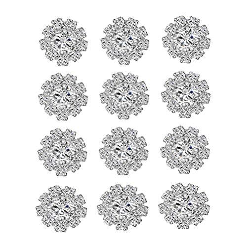 SUPVOX 24 stücke Strass Blume knöpfe dekorative kristall knöpfe Legierung Diamant knöpfe für DIY nähen basteln Kleidung 15mm (Silber)