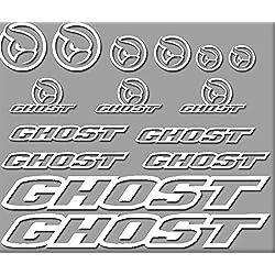 Ecoshirt UU-6Y41-02WS Pegatinas Ghost Bici R207 Stickers Aufkleber Decals Autocollants Adesivi, Blanco