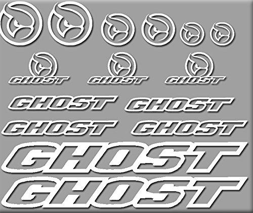 Ecoshirt UU-6Y41-02WS Aufkleber Ghost Bici R207 Stickers Aufkleber Decals Autocollants Adesivi, weiß