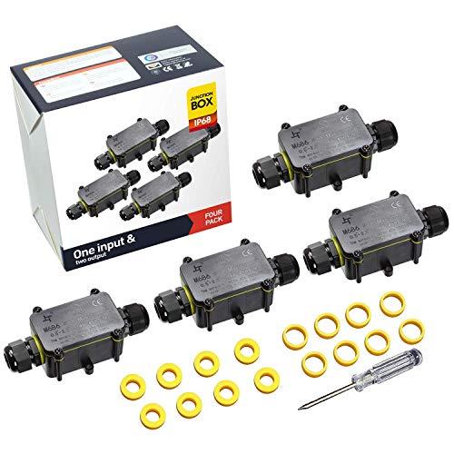 Abzweigdosen Wasserdicht Verteilerdose IP68 Kabelverbinder Klemmdose für Aussen 2-Wege für Ø4mm-12mm Kabeldurchmesser (4 Stück)