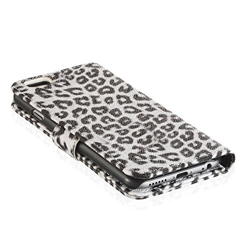 "Fosmon CADDY-LEOPARD Leather Multipurpose Wallet Case for Apple iPhone 6 (4.7"") - White weiß"