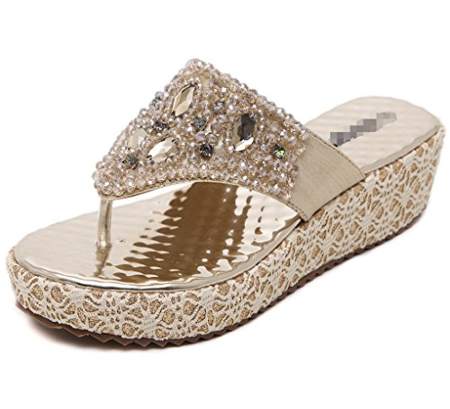 LIANGXIE Srta. New Summer Sandals Wedges Sandals Slope Sandals Sandalias de pedrería de Color Liso ZHHZZ (Color : Oro, tamaño : 39)