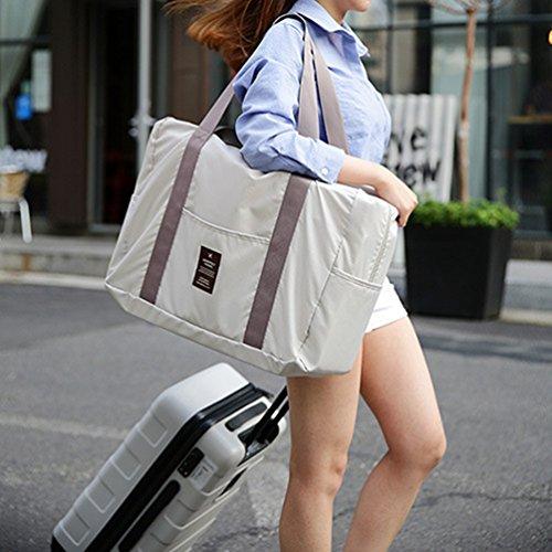 Sentao Multifunktionale Leichtes Tragbares Handgepäck Faltbare Reisetasche aus Polyester Beige