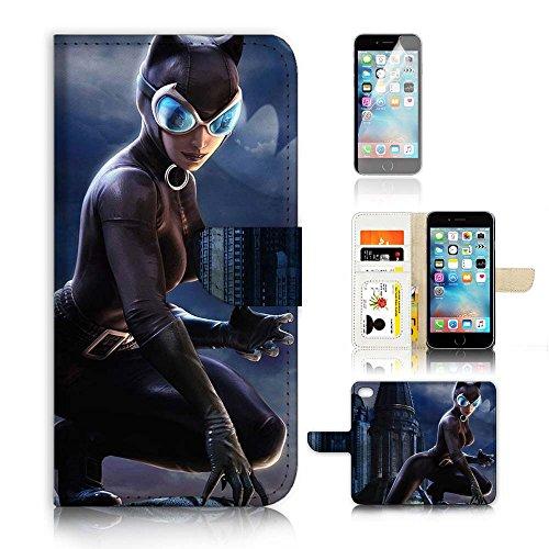 iPhone 7Flip Case Cover & Displayschutzfolie Bundle. a20397Katze Frau Super Hero