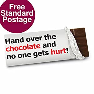 Hand Over The Chocolate Slogan Chocolate Bar, ist dies ein großartiges Produkt kann personalisiert werden, um den Anforderungen (siehe Haupt discription für full details Ideale Geschenke und Geschenk für Hochzeiten, Taufen, Geburtstage, Weihnachten und etc...