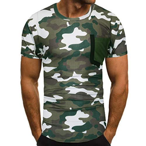 Bfmyxgs Men's New Summer Casual Camouflage Military Printing Elastic Short Sleeve T-Shirt Tops