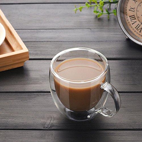 Cozyhoma 4 Stück isolierte Glas-Kaffeetassen 150 ml große Kaffeetassen mit Deckelgriff doppelwandige Glas-Teetassen für Tee, Latte, Cappuccino, Espresso, Glas, 4 Pcs Clear, 4 pcs