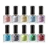 BORN PRETTY 10 Botellas Nail Art Serie de lustre metálico Esmalte de uñas Espejo Efecto Barniz de laca de uñas de oro rosa