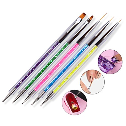Gracelaza 5-teiliges Pinselset Nagelkunst Nail Art Paint Brush Pen Set Tips Builder Flach UV Gel Acryl (Acryl Art Paint Nail)