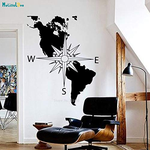 zhuziji Amerika Kontinent Karte Wandtattoo Navigation Kompass Usa Dekoration Aufkleber Vinyl Kunst Wohnzimmer Büro Wandbilder Kaffee Farbe 56x70 cm