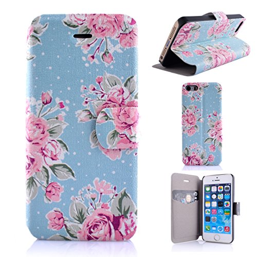 iPhone 5 Copertura,iPhone 5S Custodia, iPhone SE case,iPhone 5 cover,Floreale flowers PU Flip di portafoglio in pelle Case per iPhone 5/5S/SE -colour colour5