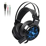 Gaming Headset,Hizek 3.5mm Stereo Wired Gaming Headphones for PS4, PC, XBox One Noise Cancelling Over-Ear Headphones with Mic Volume Control, LED Light, Bass Surround with Mic for Laptop PC Mac Computer and Smartphone