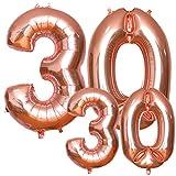Luftballons 30. Geburtstag, HTBAKOI 30 geburtstag luftballon Rosegold in 2 Größen 40