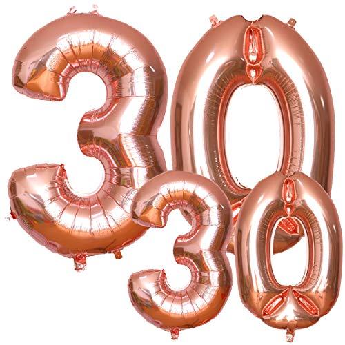 Luftballons 30. Geburtstag, SIMIKE 30 geburtstag luftballon Rosegold in 2 Größen 40