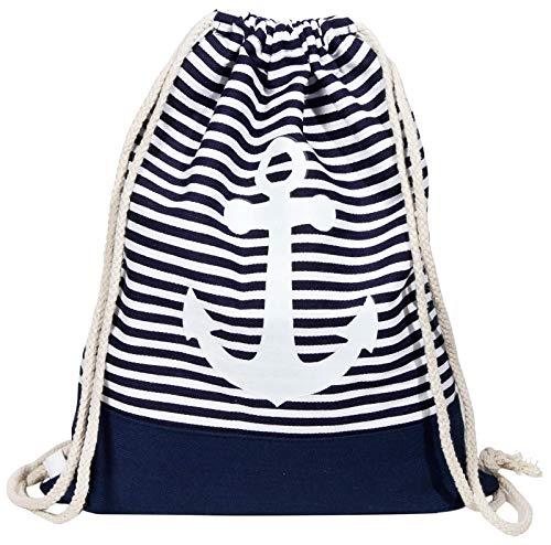 Gym Bag Anker Dunkelblau - Turnbeutel-Rucksack in maritimem Design für Damen, Herren und Kinder ...