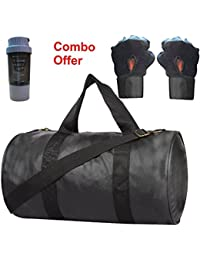 SKYSONS Gym Bag Combo Set Enclosed With Soft Leather Gym Bag For Men And Women For Fitness - Bag Size 49cm X 24cm... - B07DYM5ZSP
