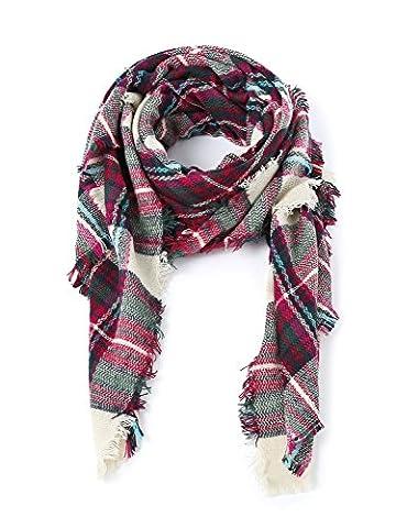 LILBETTER Plaid Blanket dicken Winter Schal Tartan Chunky Wrap übergroßen Schal Cape (G Rosa)
