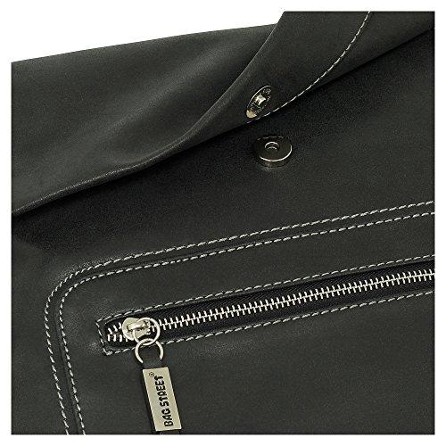 Ledershop24, Borsa a tracolla donna grigio grau nero