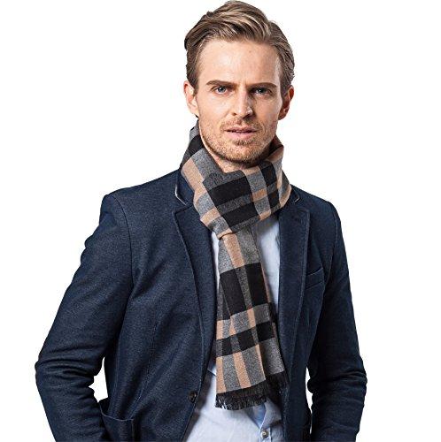 Bufanda de Hombre la tela escocesa cozy Abrigo Del Mantón cuello bufanda Regalos para Hombre (Caqui)