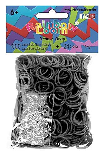 Preisvergleich Produktbild Rainbow Loom 20877 - Original Gummibänder, 600 Bänder mit 24 C - Clips, grau