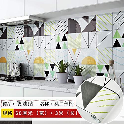 lsaiyy Küche wasserdicht und Öl renoviert Aufkleber Schränke Öfen Bad Fliesen Tapete Selbstklebende Wandaufkleber Tapete-60CMX3M -