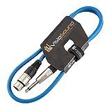 XLR 3-Polig Weiblich Buchse auf 6,3mm Mono Jack Klinke / Mikrofon / Signalkabel / 6 Farben 1m Blau