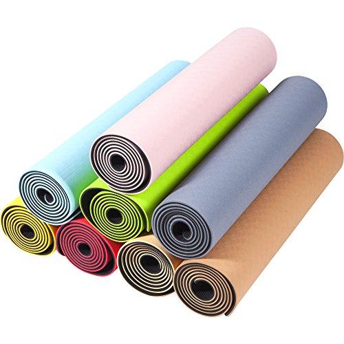 GORILLA SPORTS® Yogamatte 180 x 60 x 0,6 cm TPE rutschfest – Matte für Fitness, Yoga, Pilates, Gymnastik in 8 Farbenvarianten