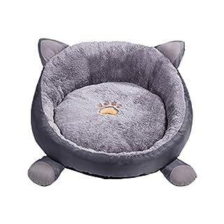 Oreille de Chat Forme Couchette M Gris Kitty Puppy Nid avec Coussin Souple Oreille Amovible Design Chien Chat lit pour