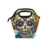 naanle Sugar Skull isoliert Leinwand Reißverschluss Lunchtasche Kühler Tasche für Erwachsene Teens Kinder Mädchen Jungen Herren Frauen, mexikanischen Totenkopf Lunch-Boxen lunchbüchse Mahlzeit Prep Handtasche für draußen Schule Büro