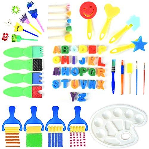 wamm Malerei Pinsel Set Kinder Frühes Lernen 52er Schwamm Pinsel + Palette Kinder Malen Zeichnung Pinsel Set für DIY Kunsthandwerk ()