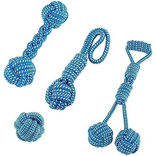 regalos tus mascotas mas kawaii mangostyle 4piezas juego de juguetes para perros de Playgirl Pet Chew juguete dientes cuerda trenzada de masticazione (Cottone, azul claro