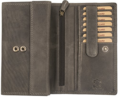 Weiche Damen Geldbörse (Hill Burry Damen Geldbörse | XXL Echt Leder Brieftasche - Vintage Langes Portemonnaie (Grau))
