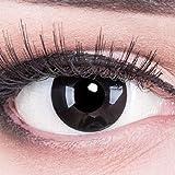 Funnylens 1 Paar farbige schwarz schwarze Crazy Fun black out Kontaktlinsen MIT STÄRKE -3,00 und + Behälter von Funnylens. Perfekt zu Halloween, Karneval, Fasching oder Fasnacht.