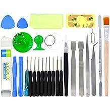 ACENIX® Kit de herramientas de reparación destornilladores para iPhone, iPad, iPod, Samsung, HTC, Motorola, teléfonos móviles, tablets y dispositivos [28pcs] herramienta de selección para reparación Fix roto pantalla LCD
