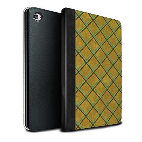 STUFF4 PU Pelle Custodia/Cover/Caso Libro per Apple iPad Mini 4 tablet / Giallo / Criss cross pattern disegno