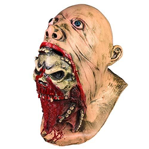JJIIEE Essen Kopf Charlie Horror-Maske, Halloween Cos Bloody Latex Kostüm Walking Dead Masquerade Scary Dress Up Vollkopf-Maske für - Walking Dead Kostüm Männer
