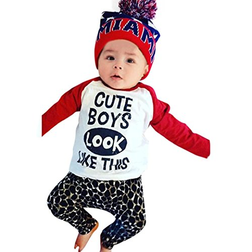 DAYSEVENTH Baby Kids Long Sleeve Cute T-Shirt Top + Leopard Pants Outfits Set (6M, Red)
