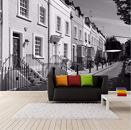 Benutzerdefinierte Fotopapier 3D Europäischen Stil Retro Schwarzweiss-Straßenansicht Tv Hintergrund Wandbild Tapete Für Wohnzimmer Wand Möbeldekoration (W)250x(H)175cm