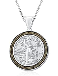 "Silvernshine 1.35 Ct Round Citrine Liberty Coin Pendant 18"" Chain In 14K White Gold Fn"